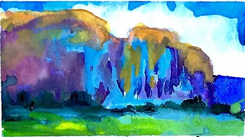 West, Original Watercolor Landscape Mini