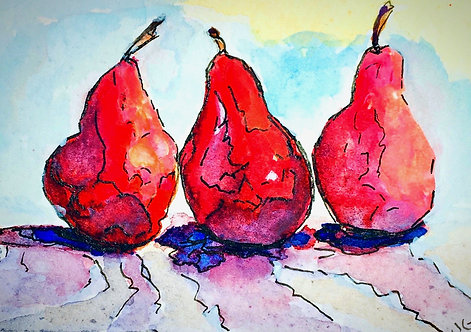 Three Pears in a Row, Giclee of Original Watercolor Painting