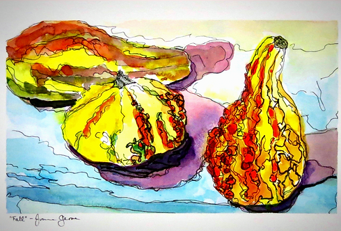 Gourds, Original Watercolor Still Life Giclee