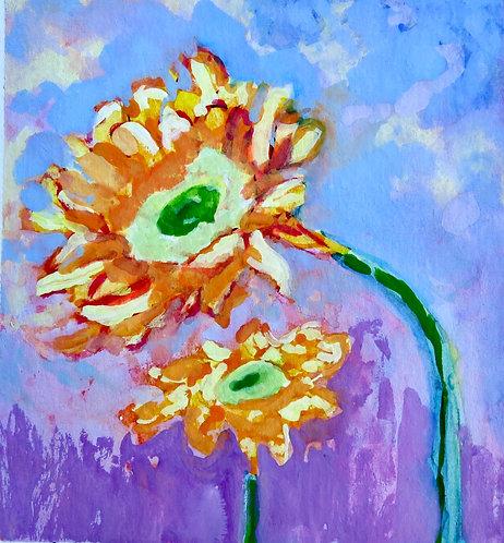 Sunny Flowers, Original Watercolor Mini