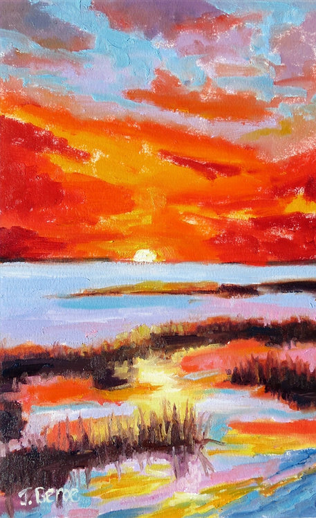 Sunset Over the Marsh, Impressionist Landscape