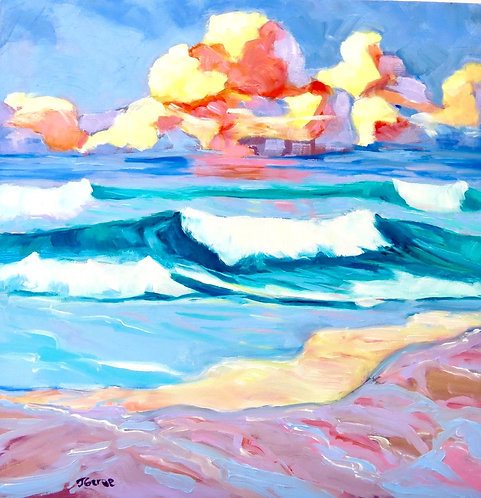 Contemporary Seascape at Sunset, California Abstract Impressionist Painting