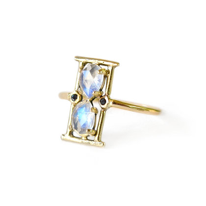 MOONSTONE HOURGLASS RING