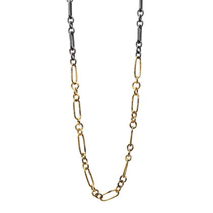 RAW LONG AND SHORT CHAIN NECKLACE