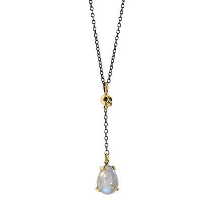 SKULL AND MOONSTONE Y NECKLACE