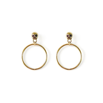 BLACK DIAMOND SKULL HOOPS