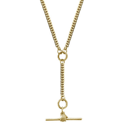 14K GOLD TOGGLE HAND CHARM HOLDER DOUBLE NECKLACE