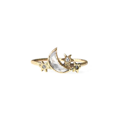 CRESCENT MOON AND STARS RING