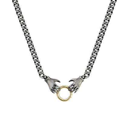 MIXED METAL DOUBLE HAND CHARM HOLDER NECKLACE