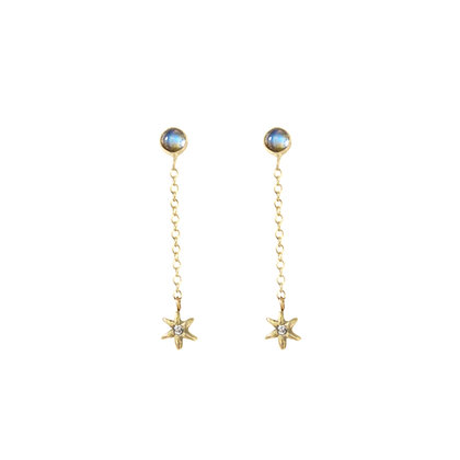 GOLD STELLAR CHAIN DROP EARRINGS SHORT