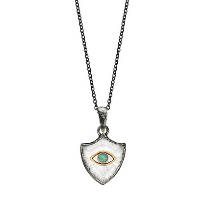 OXIDIZED SMALL SHIELD AMULET NECKLACE