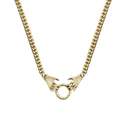 14K GOLD DOUBLE HAND CHARM HOLDER NECKLACE