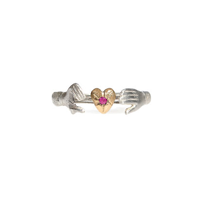 ACANTHUS FEDE GIMMEL RING STERLING SILVER