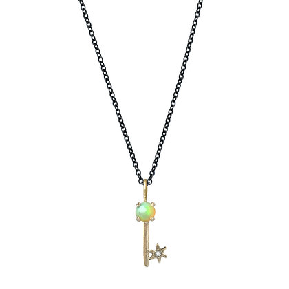 AMULET OPAL KEY CHARM NECKLACE
