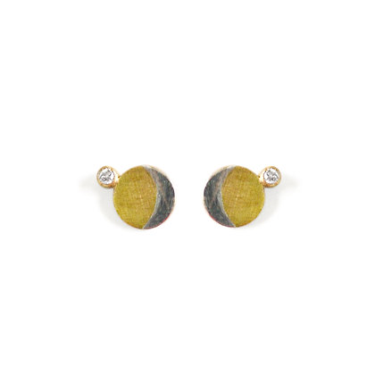 SILVER AND GOLD CRESCENT STUDS