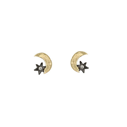 BLACK STAR CRESCENT STUDS