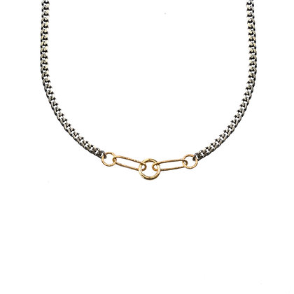 MIXED METAL FIVE LINK CHARM HOLDER NECKLACE