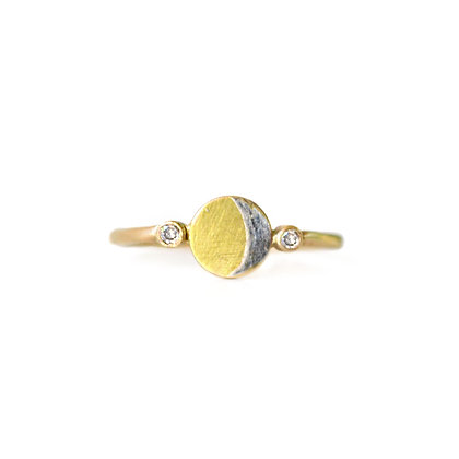 SILVER AND GOLD CRESCENT RING