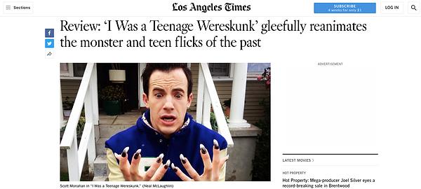 I Was A Teenage Wereskun LA Times