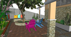 FIJI Cottage- Exterior Rendering of the Fire Pit