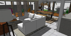 FIJI Cottage- Interior Rendering of the new Living and Dining Room