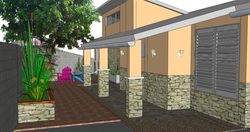 FIJI Cottage- Exterior Rendering of the Driveway
