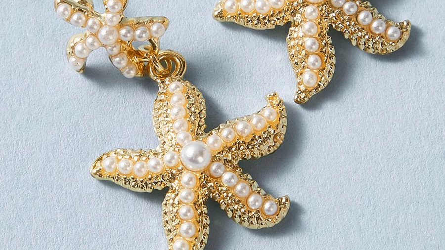Aretes estrella de mar con perlas