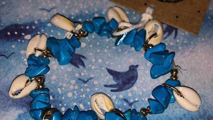 Pulsera turquesa de conchas