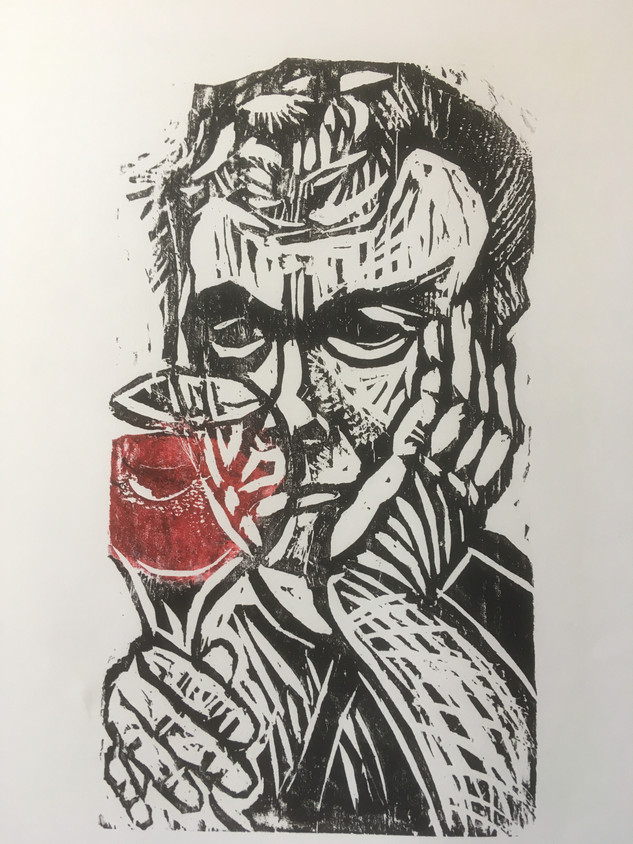 Self-portrait with Glass of Wine