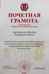 Почетная грамота от Губернатора Волгоградской области А.И. Бочарова