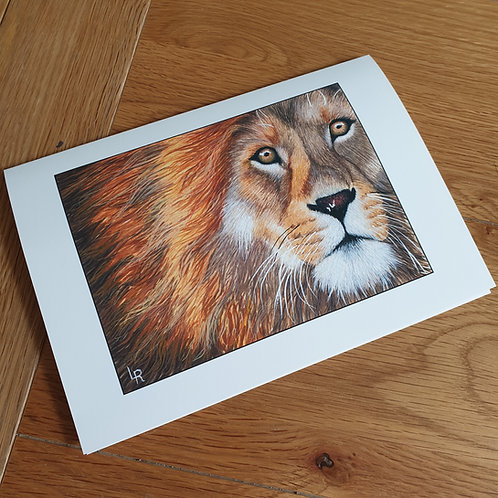 Lion Head greeting card /wall art/notelet