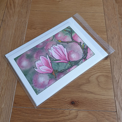 Pink Magnolia  greeting card /wall art/notelet