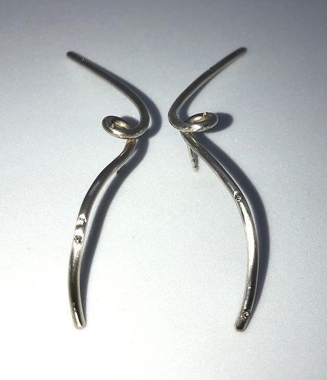 Silber Ohrringe mit 8 Diamanten (0,08 Karat) CELESTE