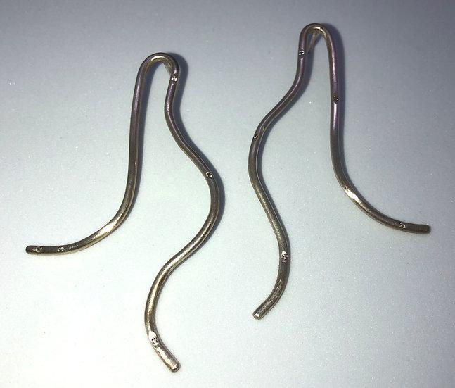 Silber Ohrringe mit 10 Diamanten (0,1 Karat) CONCETTA Long
