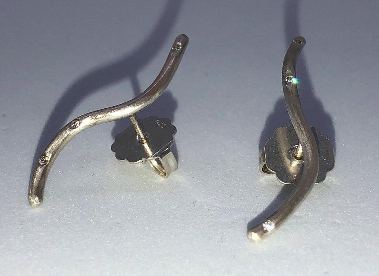 Silber Ohrringe mit 6 Diamanten (0,06 Karat) CAROLINA