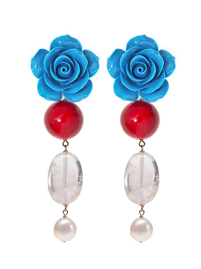 """FLEURE """"MATISSE BLUE"""" Synthetic coral Rock crystal Pearl"""