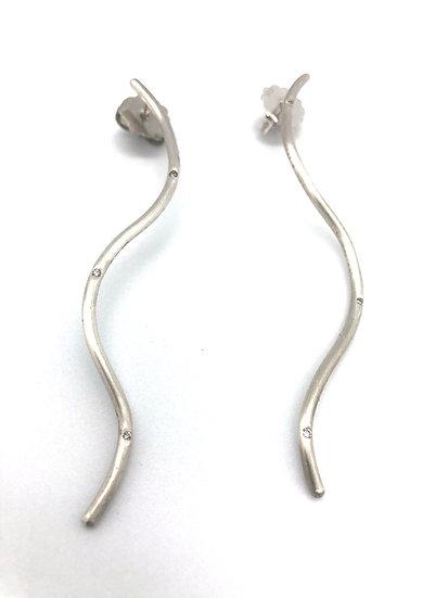 Silber Ohrringe mit 6 Diamanten (0,06 Karat) CLOTILDE Long