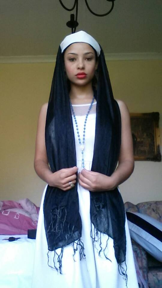 Dressed as a nun for an audition