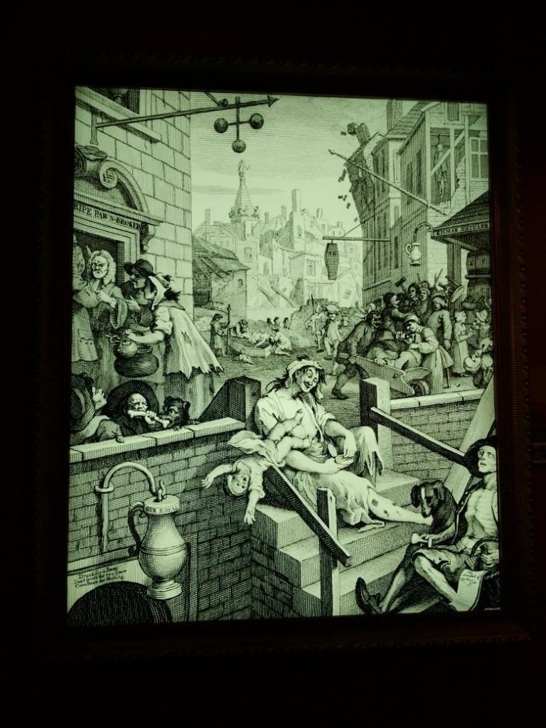 'Gin Lane' the disturbing print by Henry Fielding