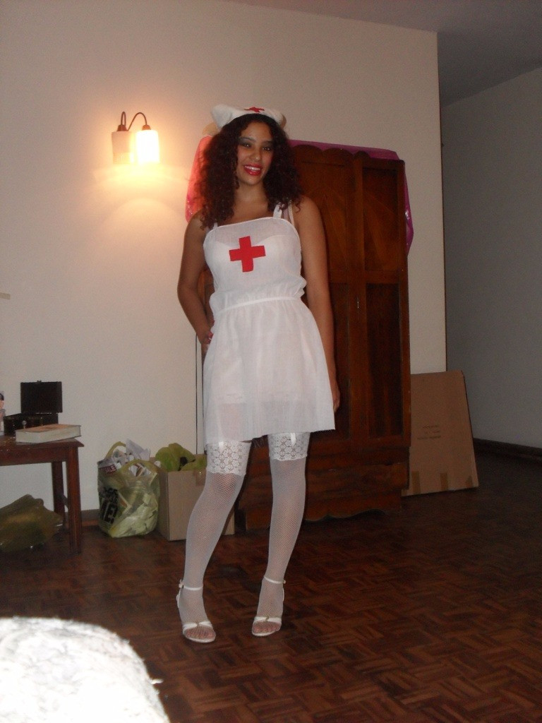 Dress that I cut and made into a nurse's outfit