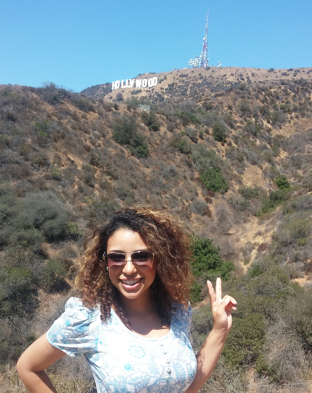 Me in front of the Hollywood Hills in Los Angeles