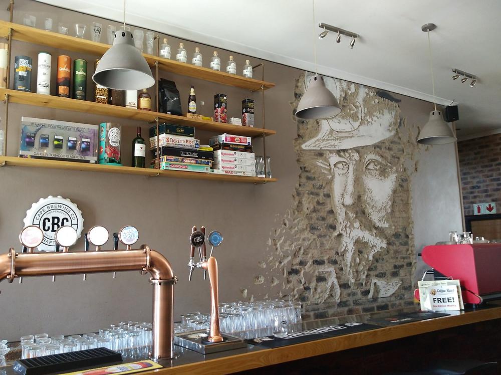 A beautiful mural behind the bar
