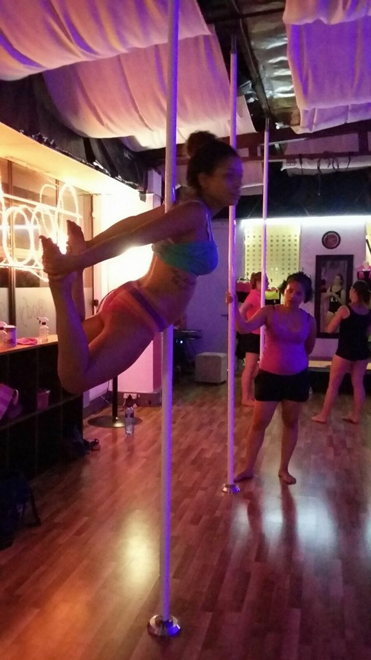 Dolphine pole dancing pose