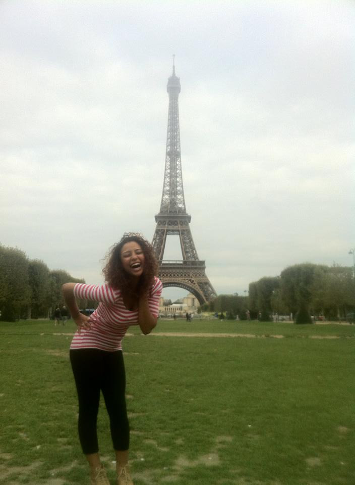 Samantha Snedorf in front of the Eiffel Tower in Paris