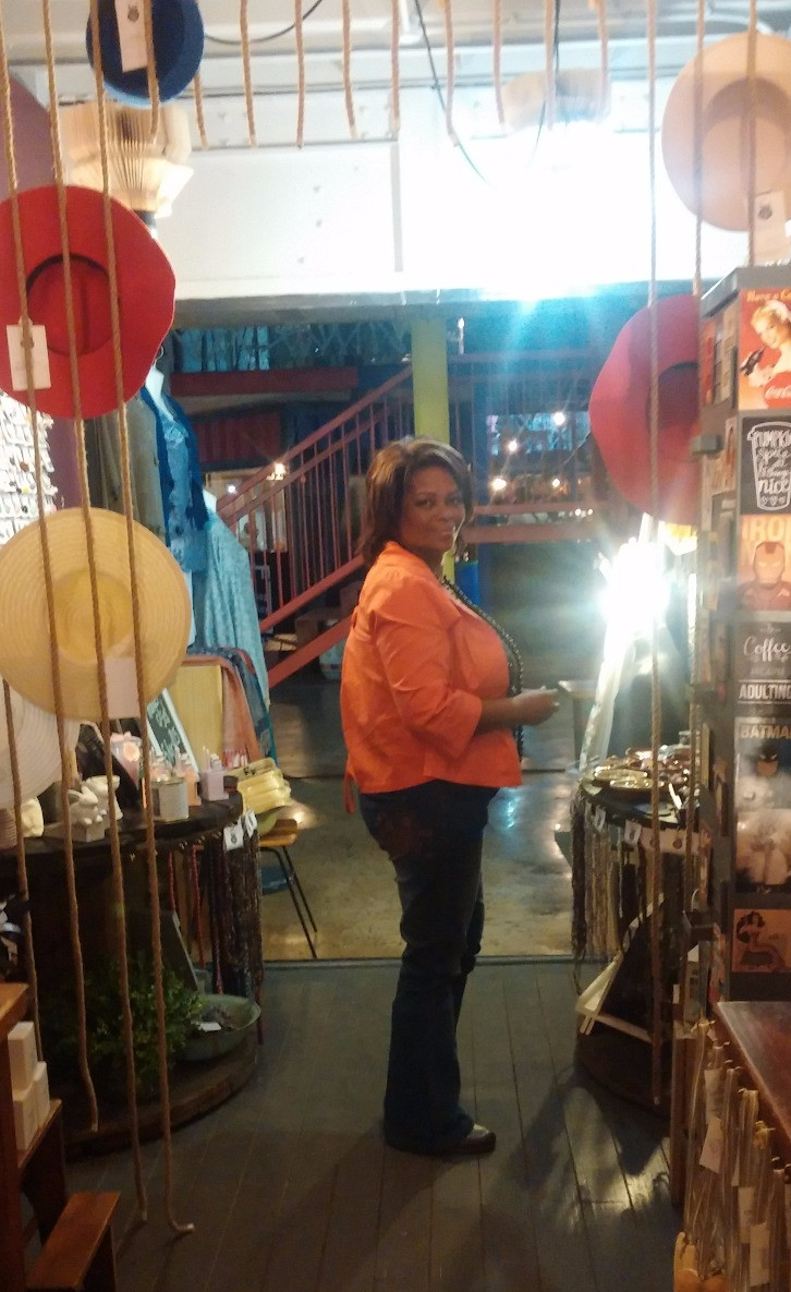 My mom at 27 Boxes night market in Melville