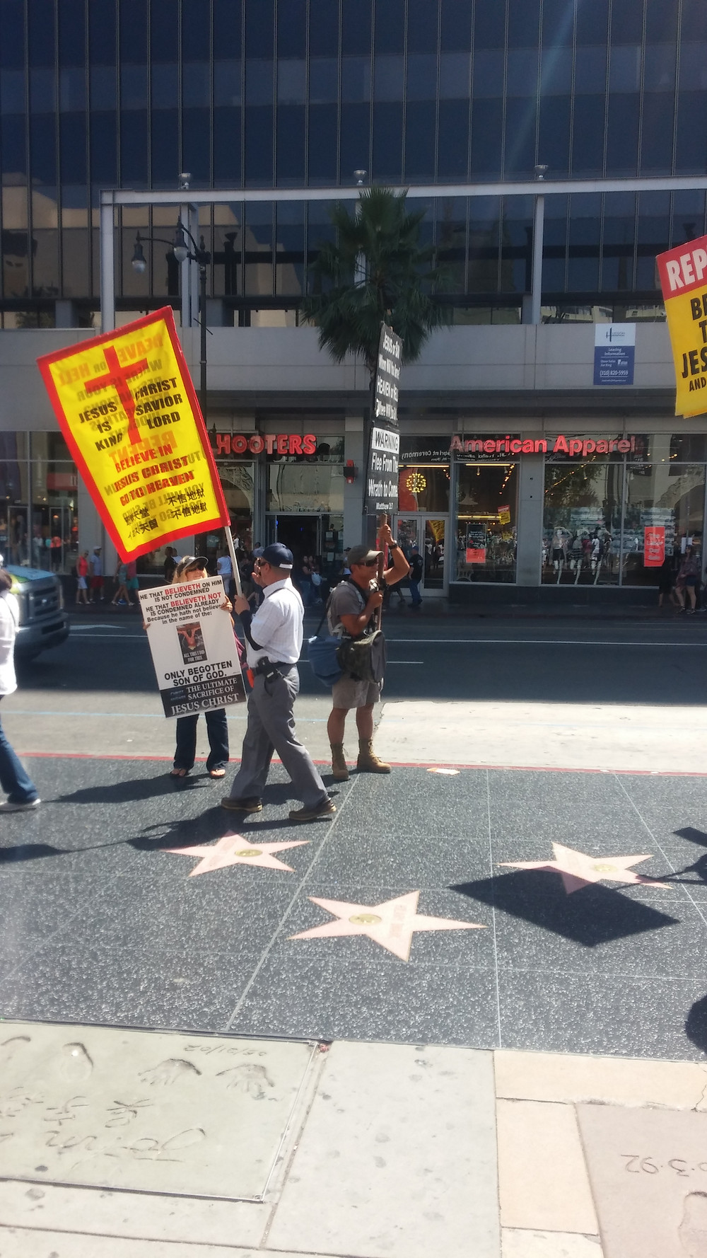Picketers along the Hollywood Walk of Fame
