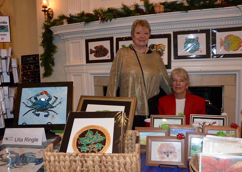 This is ...at the Aiken County Museum: Mistletoe and Merlot  Christmas Market with my good friend Barbara Mettle, another wonderful artist....
