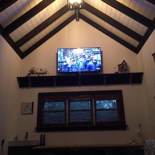 Custom Wood Ceiling and Shelving