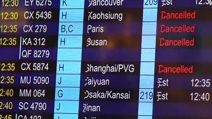 Cancelled flights due to the viral outbreak.