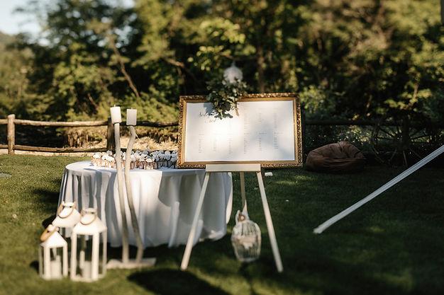 poročna dekoracija, zlat vintage okir, sedežni red